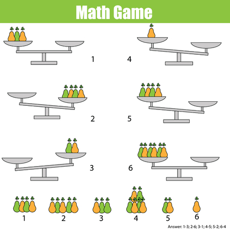 balance sheet: Mathematics educational game for children. Balance the scale. Learning counting, mathematical equation, weights and algebra Illustration