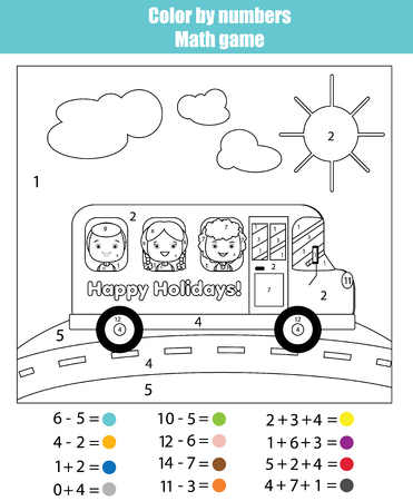 Coloring page with kids traveling in school bus. Color by numbers math children educational game. For school years kids. Learning mathematics, algebra, addittion and subtraction