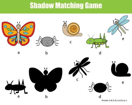 preschool child: Shadow matching children educational game. Find the right shadow task for kids. Find the correct shadow for insects Illustration