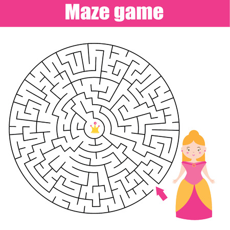 seeking solution: Maze children game: help the princess go through the labyrinth and find her crown