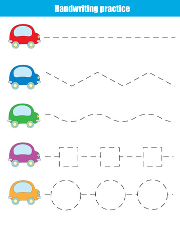 Handwriting practice sheet. Educational children game. Writing training, transportation theme. Connect the dots, restore the dashed line, vector illustration, printable worksheet Vectores