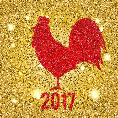 color of year: Glittering Red rooster. Sparkling cock on golden glittering background. Vector illustration of 2017 new year symbol