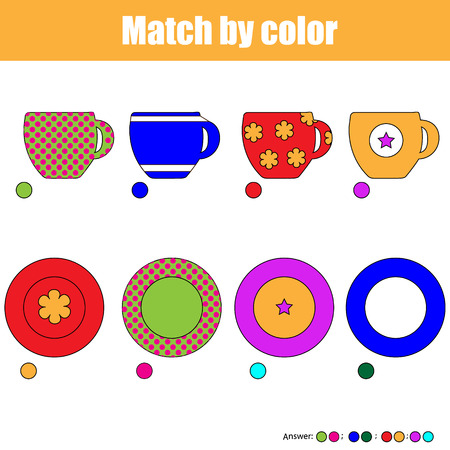 Matching pairs game for kids. Find the right pair for each cup and plate, children educational game