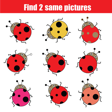 Find the same pictures children educational game. Find equal ladybirds task for kids Illustration