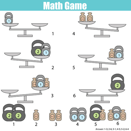 range fruit: Mathematics educational game for children. Balance the scale. Learning counting, mathematical equation, weights and algebra Illustration