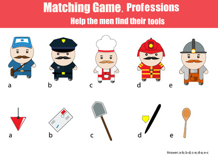 developmental: Match men with objects children education game. Learning professions theme for kids books, worksheets with answer