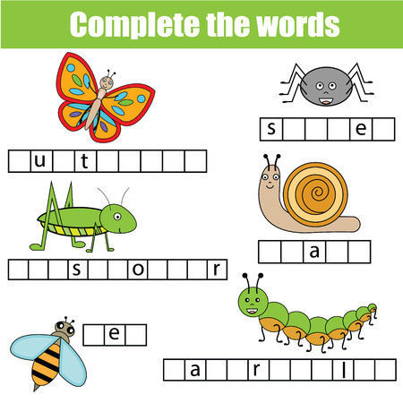 Complete the words children educational game. Learning insects theme and vocabulary Vectores