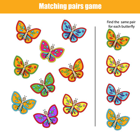 pairs: Matching pairs game for kids. Find the right pair for each butterfly, children educational game