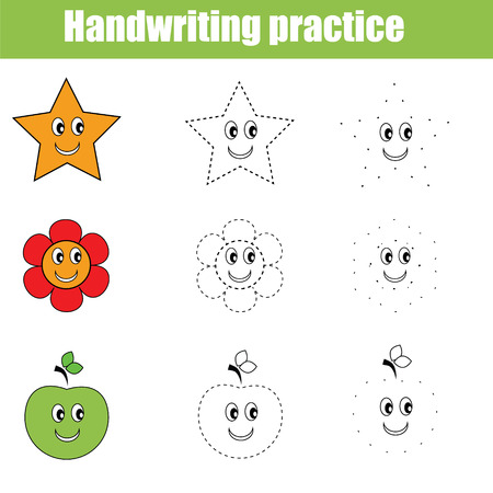 Handwriting practice sheet. Educational children game. Writing training. Connect the dots, restore the dashed line, vector illustration, printable worksheet 矢量图像