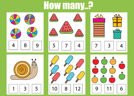 Counting educational children game. How many objects task. Learning mathematics, numbers, addition theme Illusztráció
