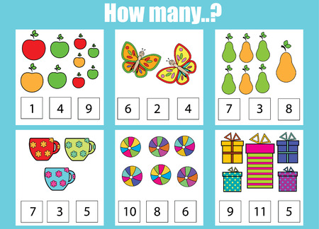 Counting educational children game. How many objects task. Learning mathematics, numbers, addition theme Stock Illustratie