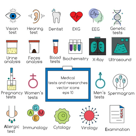 clinical: Popular medical tests and clinical researches vector icons set. Isolated design elements for web pages, brochures, flyers and etc Illustration