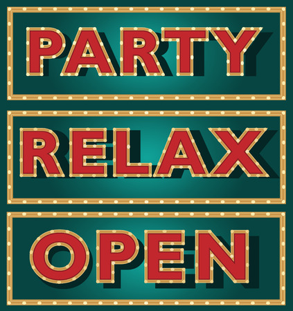 outdoor lights: Outdoor sign, party, night club banner with bulbs and lamp lights. Vector illustration