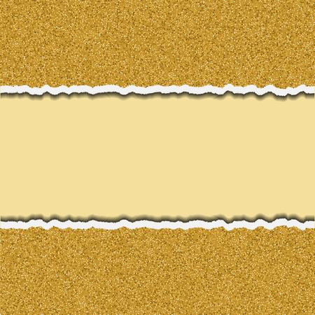 teared: Gold glittering torn paper pieces. Ripped paper frame design template, element. Vector party border