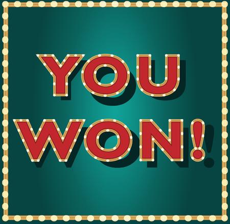 Je hebt gokken, loterij, game vectorbanner gewonnen. Gestileerde casinoachtergrond met lichten en tekst