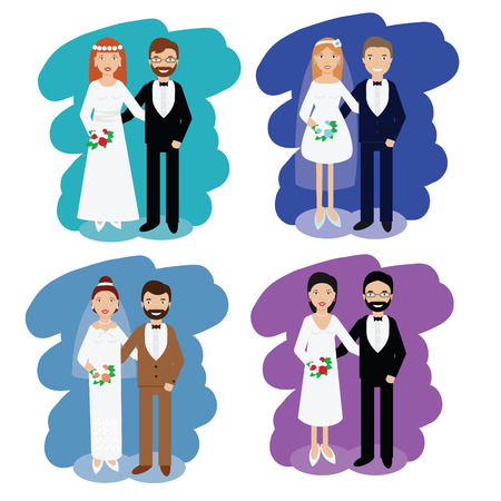 pairs: Wedding couples set. Bride and groom smiling pairs in wedding dress code. Vector illustration, collection, flat style Illustration
