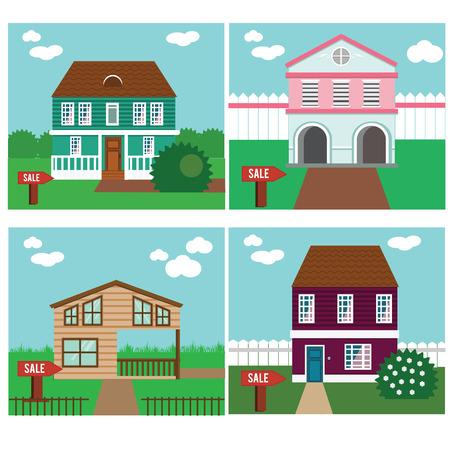 townhouse: Real estate on sale. House, townhouse, sweet home vector illustration. Collection of vector cottages with sale sign