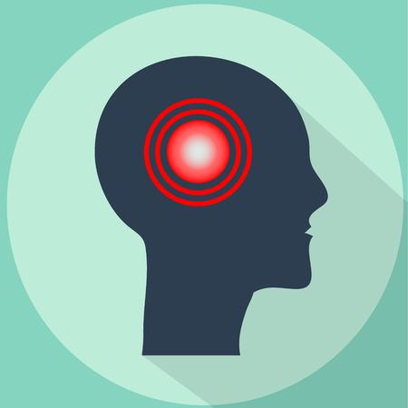 Headache, migraine vector illustration with long shadow. Pain pulsing in shape of human head Ilustração