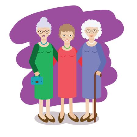 Groep van oude dames. Drie oude vrouwen, gezelschap van ouderen grootmoeders. vector illustratie