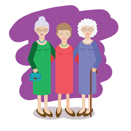 Group of aged ladies. Three old women, company of elderly grandmothers. Vector illustration