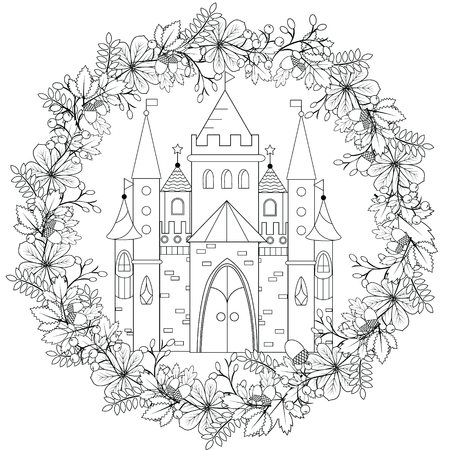 fairyland: Relaxing coloring page with fairy castle in forest wreath for kids and adult, art therapy, meditation coloring book vector illustration, printable sheet, abstract lace background. Fairyland fantasy castle in black and white