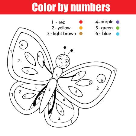 Página Para Colorear Con Mariposa. Juego De Niños De Color Por ...