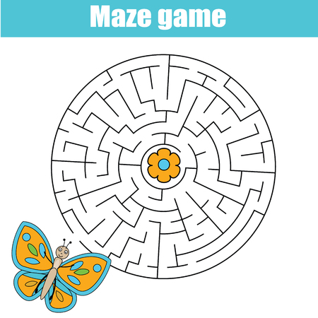 Maze children game: help the butterfly go through the labyrinth. Kids activity sheet Illustration