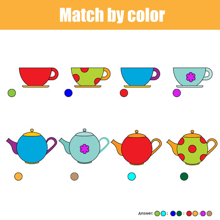 matching: Matching pairs game for kids. Find the right pair for each cup and kettle, children educational game
