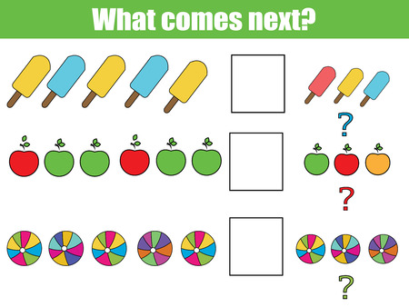 What comes next educational children game. Kids activity sheet, training logic, continue the row task Иллюстрация