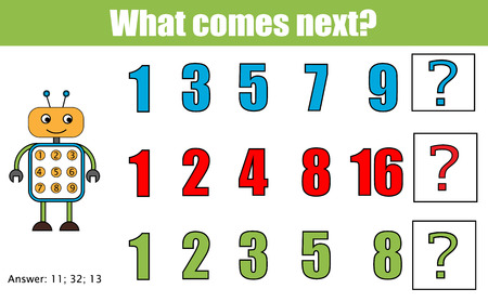 school years: What comes next educational children game. Kids activity sheet, training logic, continue the row task. Mathematics game with numbers for school years kids Illustration