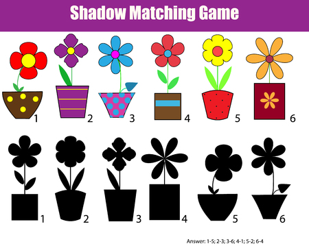 Shadow matching children educational game. Find the right shadow task for kids. Find the correct shadow for flowers