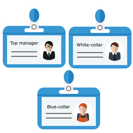 illustraton: Office name badges with positions. Vector illustraton, isolated elements