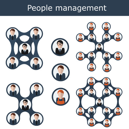 impersonal: People management concept illustration structure scheme. Human resources with managers and workers. Office hierarchy concept, business team Illustration
