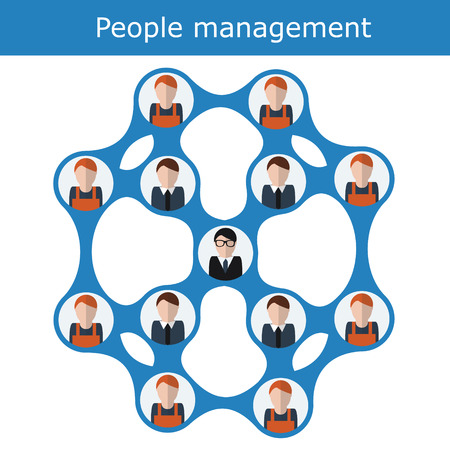 People management concept illustration structure scheme. Human resources with managers and workers. Office hierarchy concept, business team Illustration