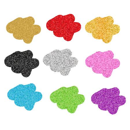blobs: Colorful glittering blobs. Vector illustration, isolated design elements. Sparkling blots Illustration