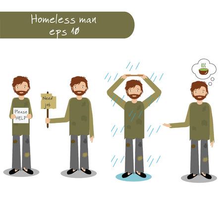 Homeless man begging for money, job, food, help. Vector illustration of beggar character