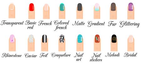 Manicure types. Nail design, nail art vector set. Illustratie van trendy manicure stijlen gradiënt, frans, glinsterende polish en andere populaire modellen