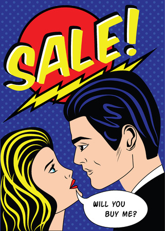 blondie: Sale banner with man and woman in vintage, american comic pop art style, vector illustration Illustration