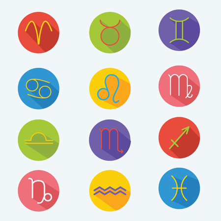 Classic astrological zodiac signs. Vector set. Icons in flat style with long shadow. Design elements for applications, web and other business Illustration