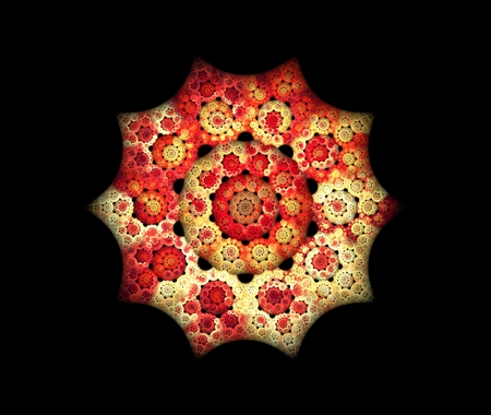 meditative: Abstract glowing mandala in red colors illustration. Meditative background, fractal flower, design element for flyers, covers and etc