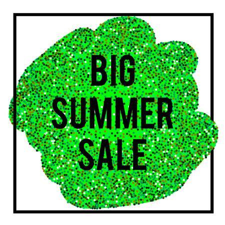 Summer Sale banner in frame on green glittering background. vector illustration