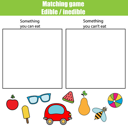 printable: Edible inedible educational children game, printable kids activity sheet Illustration