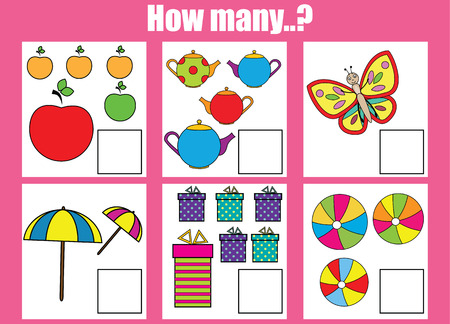 buterfly: Counting educational children game, kids activity sheet. How many objects task. Learning mathematics, numbers, addition theme
