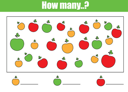 Counting educational children game, kids activity sheet. How many objects task. Learning mathematics, numbers, addition theme 向量圖像
