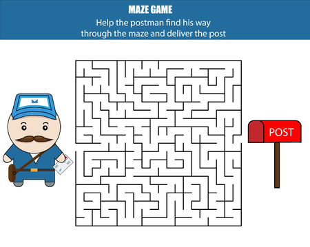 developmental: Maze game. Help the postman deliver the letter. Kids activity sheet, printable educational children game