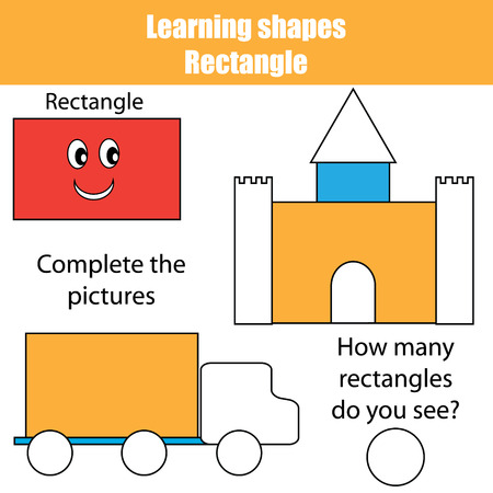 Complete the picture. Educational children game. Writing training. Connect the dots, restore the dashed line, kids activity. Learning geometry shapes. Rectangle