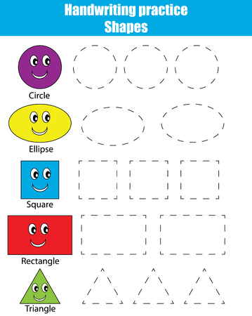 Handwriting practice sheet. Educational children game. Writing training. Connect the dots, restore the dashed line, kids activity. Learning geometry shapes Vectores