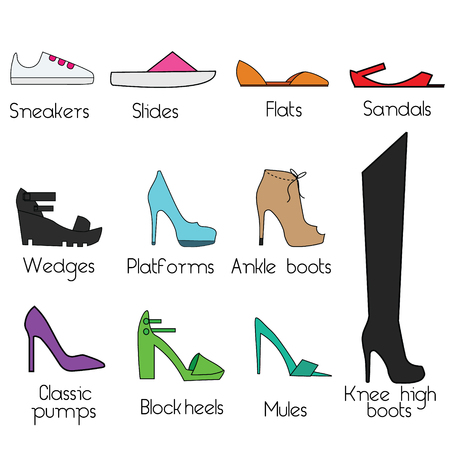 Women shoes models. Popular shoes types for women, isolated icons, fashion design elements Illustration