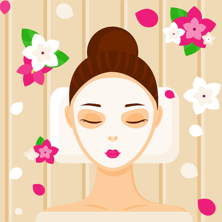 facial massage: Young woman with facial mask relaxing in spa, beauty or massage salon among flowers. Vector illustration Illustration