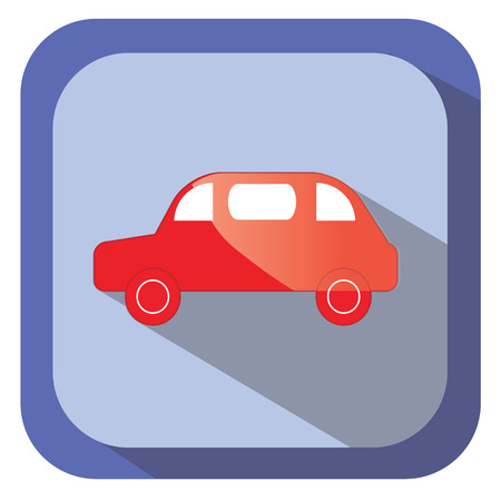 glance: Red glance car vector icon in flat design with long shadow. Design element for mobile applications,  and other business